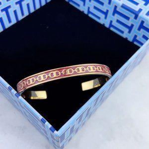 Tory Burch Red Enamel Glazed Logo Opening Bracelet